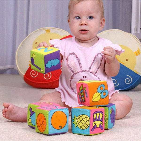 Randon 1PCS Cloth Building Blocks New Infant Baby Cloth Doll Soft Rattle early Educational Baby Toy Soft Plush Set Cube