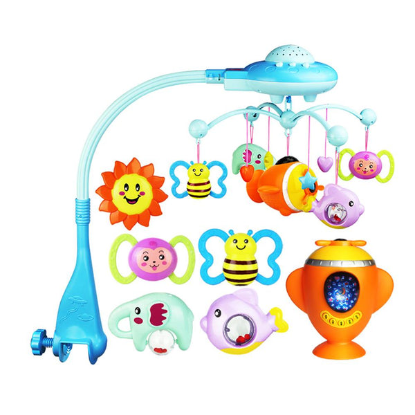 Baby Rattles Crib Mobiles Toy Remote Control Rotating Crib Mobile Bed Toys Musical Educational Toys Newborn Infant Baby Boy Toy