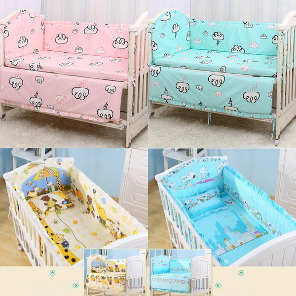 6Pcs Cotton Breathable Printed Baby Crib Cot Bumper Collision Protector Newborn Bed Surrounded By Safety Rails Bedding Supplies
