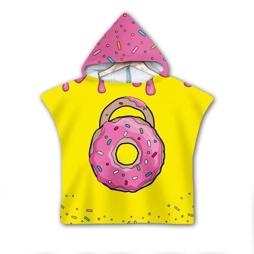 Dessert donut Milk Hooded baby Boys and Girls Towel Wearable Bath Towel For Kids Travel 3D print Beach Towels style-4