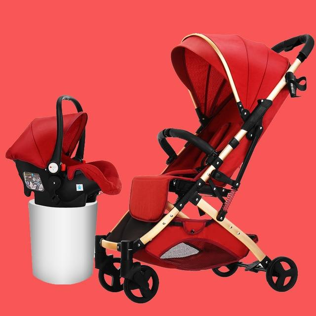 Baby Stroller 3 in 1 Hot Mom Luxury Baby Stroller Carriage Basket Multifunction Four Wheels Stroller with Car Safe Seat