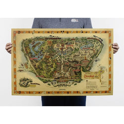 Free shipping,Hand drawing /Disneyland map /Nostalgia photo/kraft paper/bar poster/Retro Poster/decorative painting 72x48cm