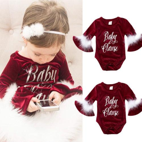 Pudcoco 2017 New Pleuche Christmas Baby Girls Romper long sleeves infant newborn baby jumpsuit princess plush clothes xmas gift