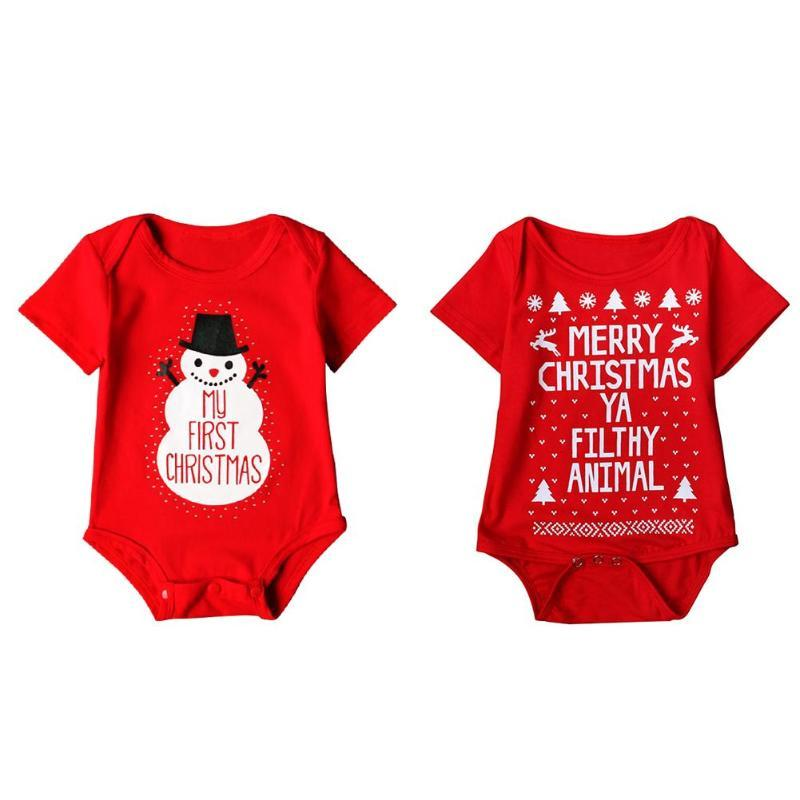 My First Christmas Newborn Baby Girls Boy Cute Romper Loose Letters Print Jumpsuit for Baby New Year Clothes Outfit Costume Suit