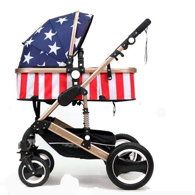 Baby Strolle Multifunctional 3 in 1 Baby Stroller High Landscape Stroller Folding Carriage Gold Baby Stroller Newborn Stroller