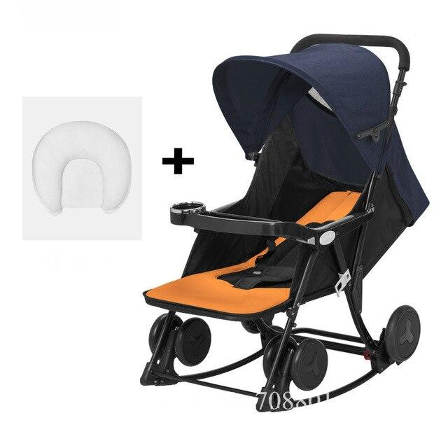 2 in 1 Baby Stroller, can change to Baby Rocking Cradle, Compact Fold Baby Carriage with Pillow Gift, Newborn Baby Comfort Chair