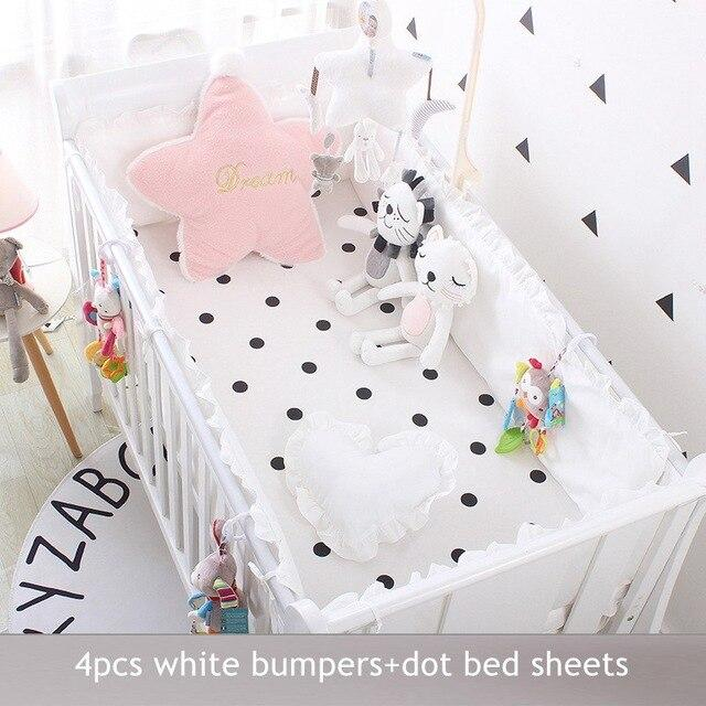 5pcs Set Crib Bumpers +Fitted Bed Sheets Baby Cotton Cot Bumper Children Barrier For Bed Toddler Children's Room Beds Bedding