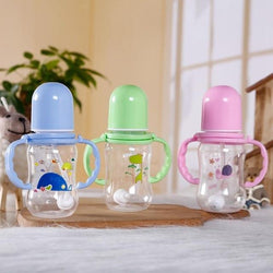 Baby Bottle With Handle Kids Cup Toddler 150ml Baby Feeding Nipple Bottle Infant Sippy Cup Feeder Milk Water Random Color
