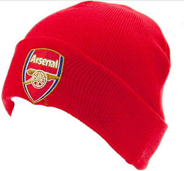 Arsenal FC Cuff Red Knitted Hat Beanie with Embroidered Club Badge.