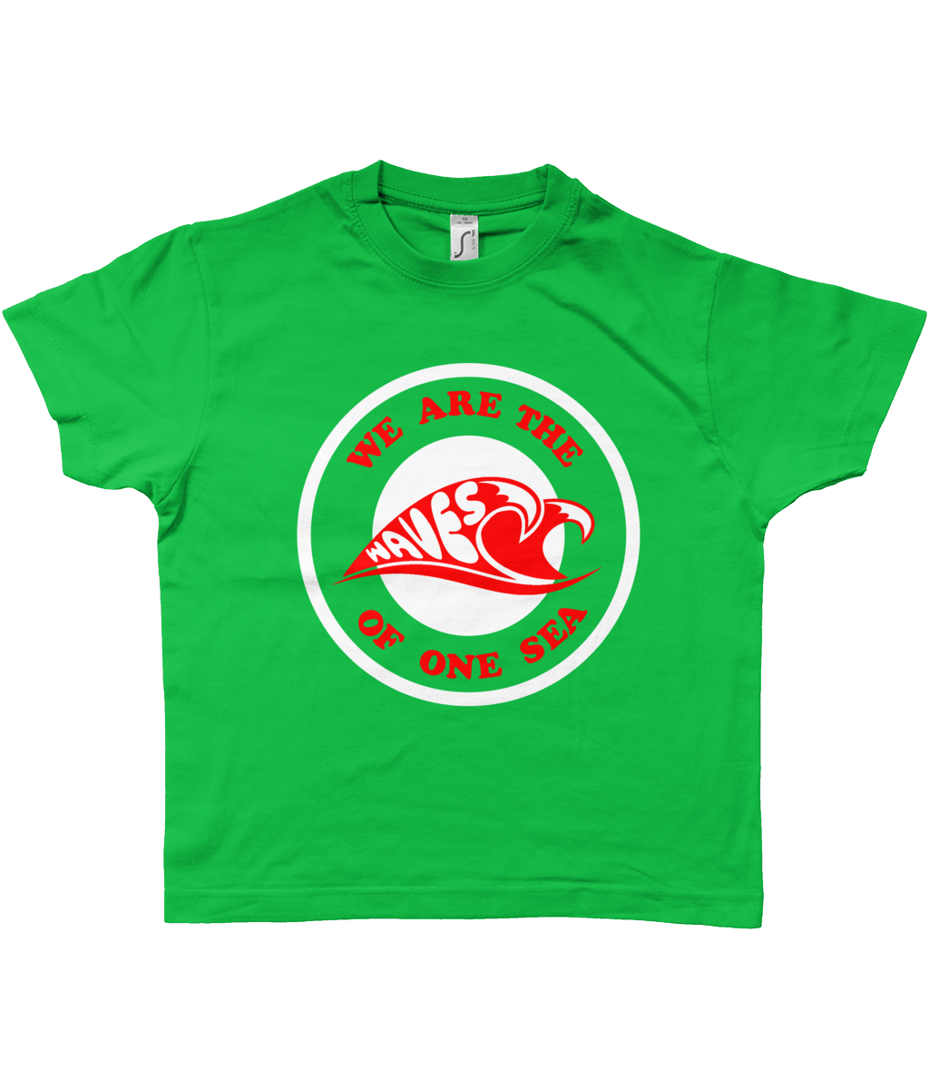 Bojest retro t-shirt for kids 'waves of one sea' on green