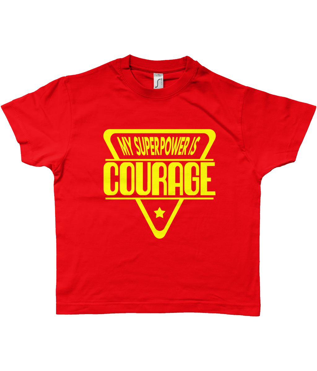 Kid's Red Superpower Courage T-Shirt Red