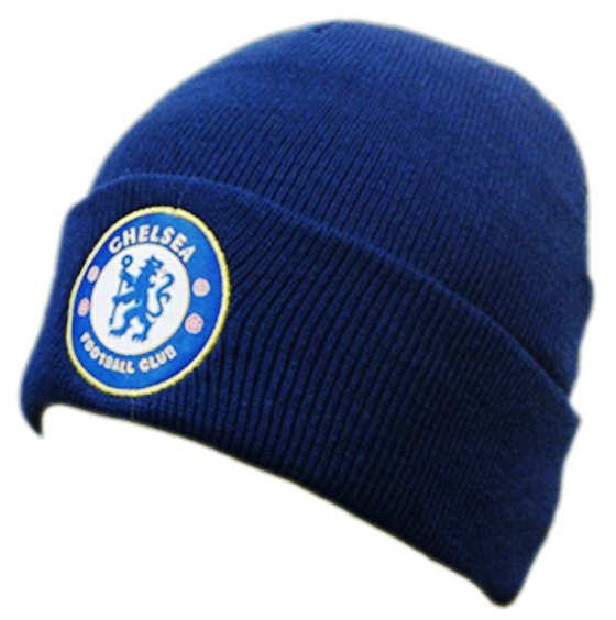 Chelsea FC Cuff Navy Knitted Hat Beanie with Embroidered Club Badge