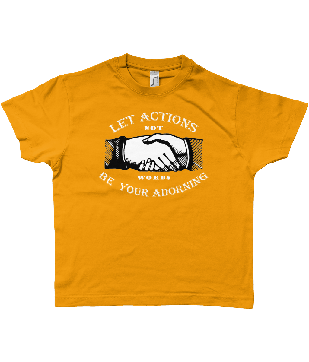 Bojest retro kid's t-shirt 'Let Actions Be Your Adorning' on gold
