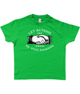 Bojest kid's retro t-shirt 'Let Actions Be Your Adorning' on Kelly Green