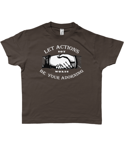 Retro kid's t-shirt 'Let Actions Be Your Adorning' on chocolate