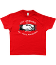 Bojest kid's retro t-shirt 'Let Actions Be Your Adorning' on Red