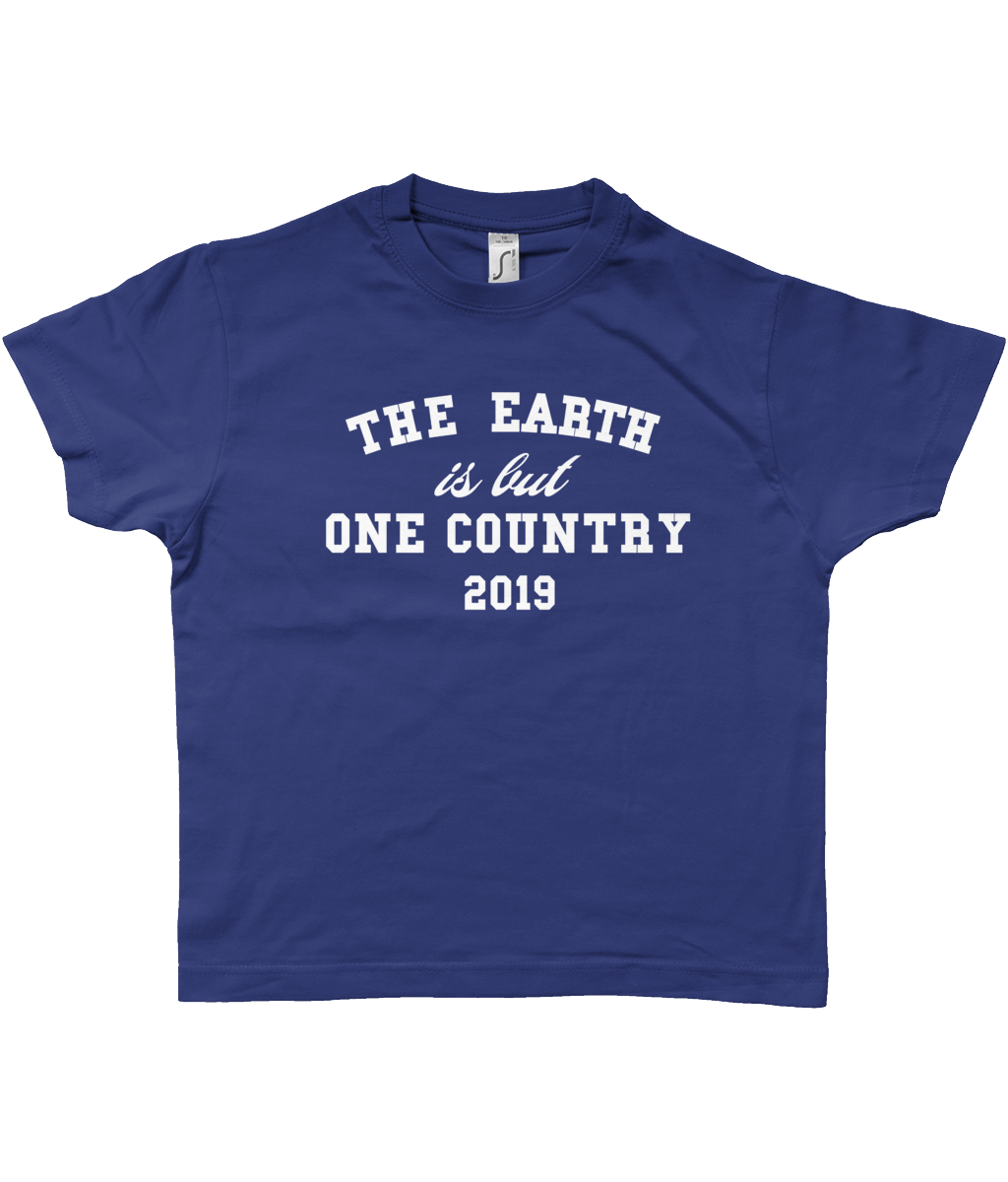 Bojest kid's retro 'Earth is but one country' blue unity t-shirt