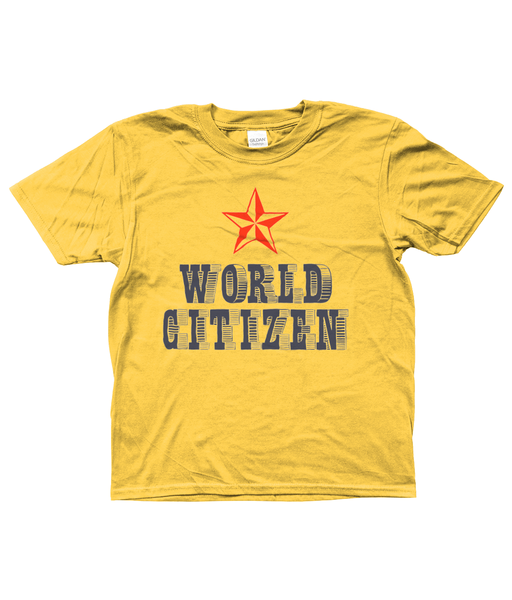 Bojest kid's t-shirt 'World Citizen' in daisy yellow