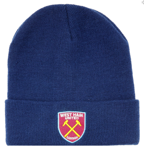 West Ham United FC Cuff Navy Knitted Hat Beanie with Embroidered Club Badge.