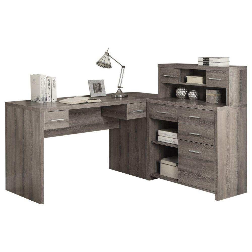 Astonishing Monarch Hollow Core L Shaped Home Office Desk With Hutch Dark Taupe Home Interior And Landscaping Eliaenasavecom