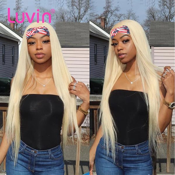 613 Blonde Headband Wig Straight Virgin Human Hair(Get Free Headband)