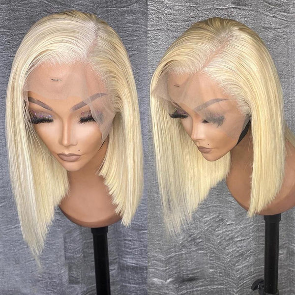 4x4 #613 Blonde Straight Bob Wig Human Hair Lace Front Wig Silky Blunt Cut