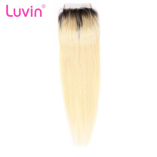 Human blonde hair lace closure #1B613 straight