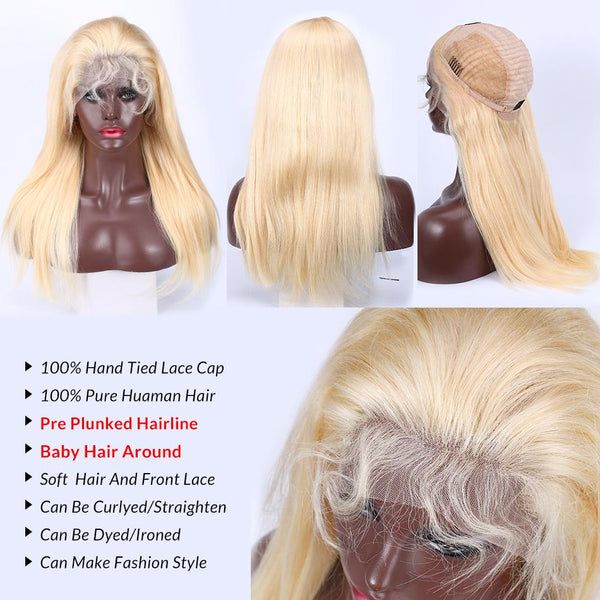 4x4 613 Lace Front Wig Straight Blonde Wigs Brazilian Human Hair