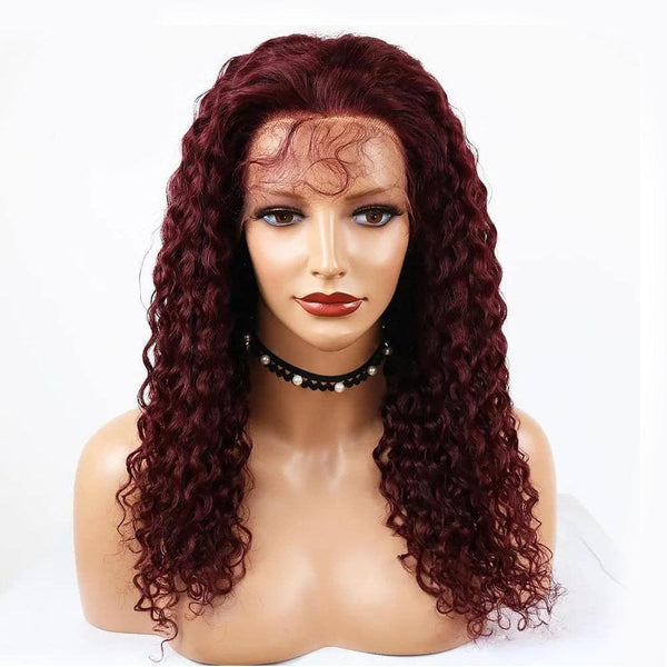99J Burgundy Deep Curly T-Part Lace Frontal Wig Human Hair Wig