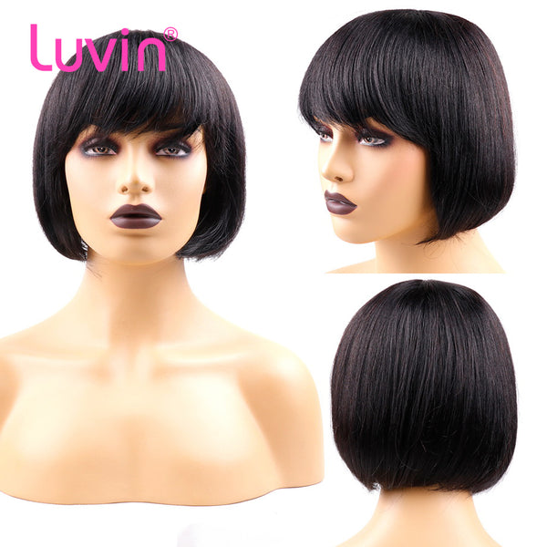 Pixie Cut Bob Bang Wigs Virgin Human Hair