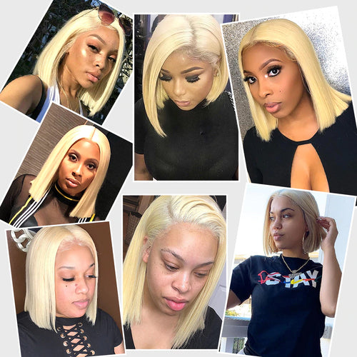 Color#613 blonde bob wig silky blunt cut frontal wig