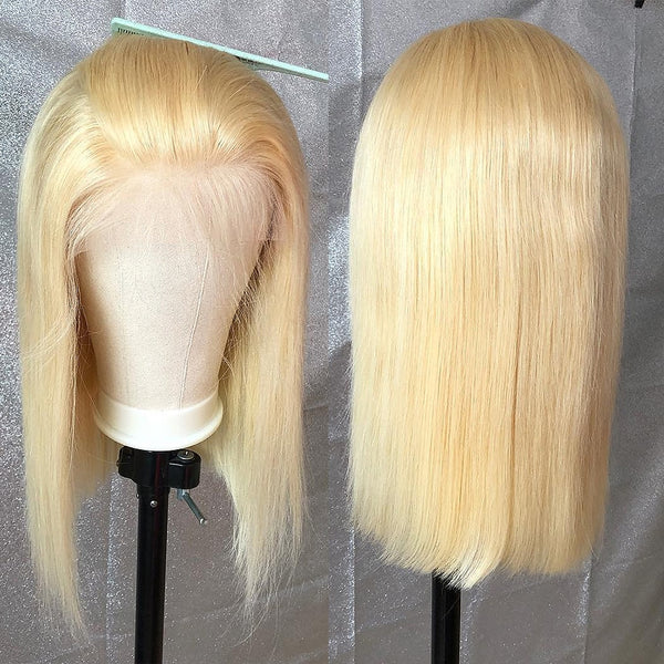 Color#613 blonde bob wig silky blunt cut straight