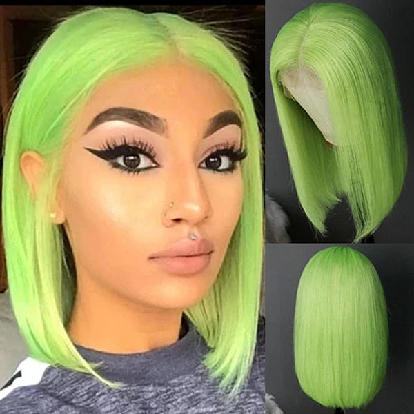 Straight Green Bob Wig Brazilian Humen Hair Short Lace Front Wig