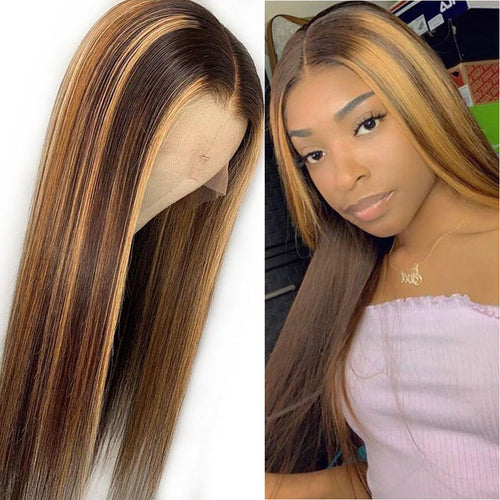 T4/27 13x6 Lace Front Human Hair Wigs Pre Plucked Brazilian Straight Remy Frontal Wig