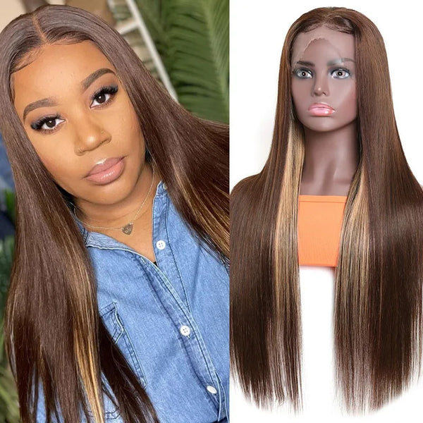 4x4 #4/30 Mix Color Straight Human Hair Lace Front Wig