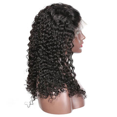 Pre bleached knots best virgin human hair full lace wig deep curly