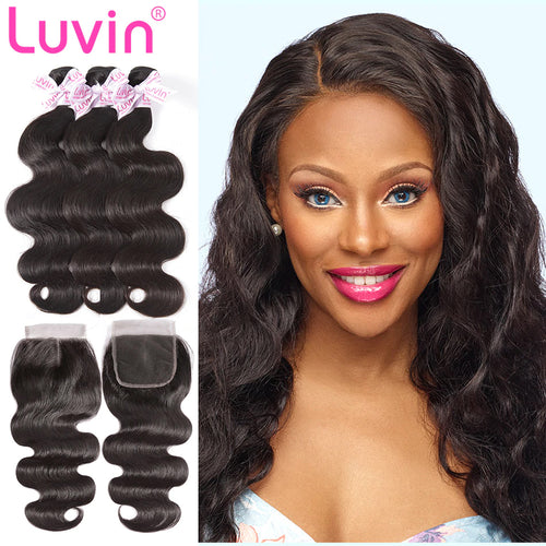 100% Human Remy Hair 3 Bundles With Lace Closure Body wave