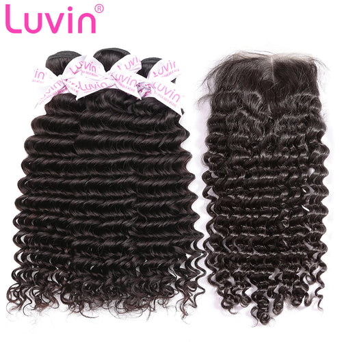 100% Human Remy Hair 3 Bundles With Lace Closure Deep curly