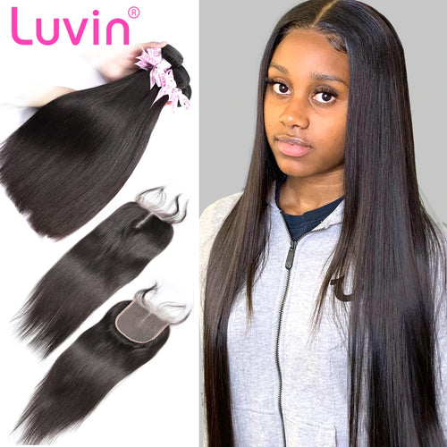 100% Human Remy Hair 3 Bundles With Lace Closure Straight