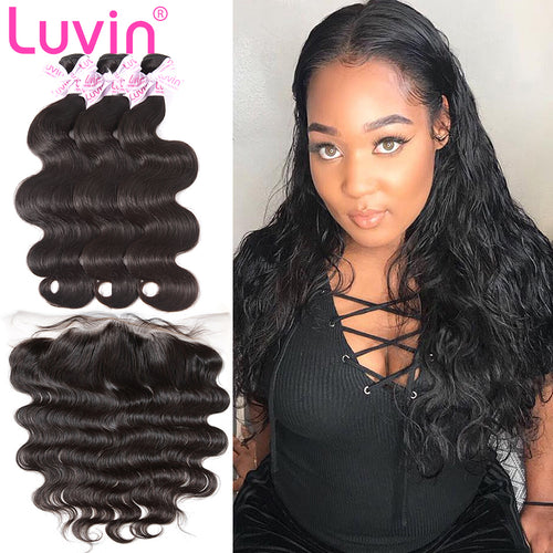 100% Human Remy Hair 3 Bundles With Lace Frontal Body wave