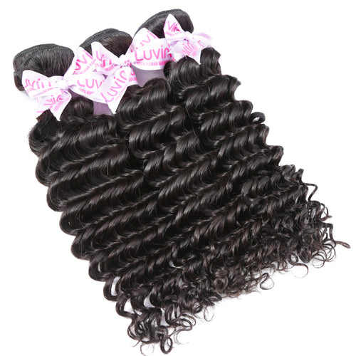 100% Human Remy Hair 3 Bundles With Lace Frontal Deep curly