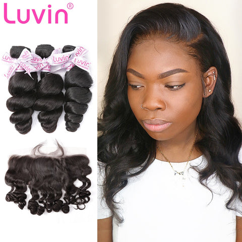 100% Human Remy Hair 3 Bundles With Lace Closure Loose wave
