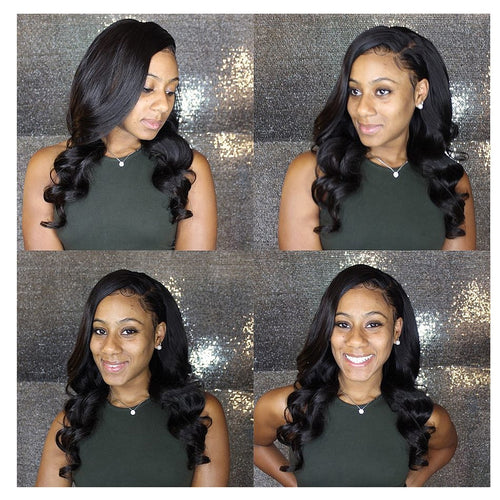 100% Human Remy Hair 3 Bundles With Lace Frontal Loose wave