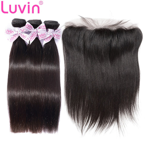 100% Human Remy Hair 3 Bundles With Lace Frontal Straight