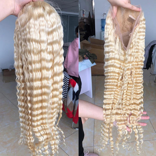 Color#613 blonde human hair lace front wig, pre plucked, deep curly