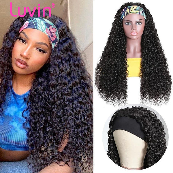 Deep Wave Headband Wig Virgin Human Hair(Get Free Headband)