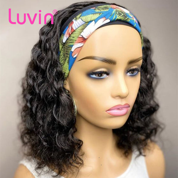 Water Wave Headband Wig Virgin Human Hair(Get Free Headband)