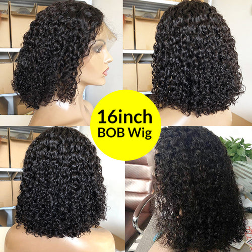 Undetectable transparent bob wig human hair 13x6 lace wig deep curly HD lace wig