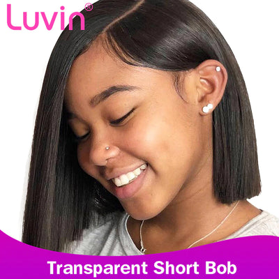 Undetectable transparent bob wig human hair 13x6 lace wig straight HD lace wig