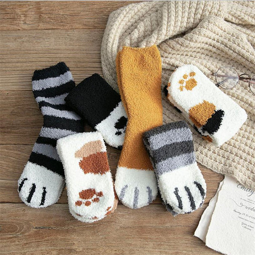 coral fleece socks winter cat claws warm - GEEKMANN✓